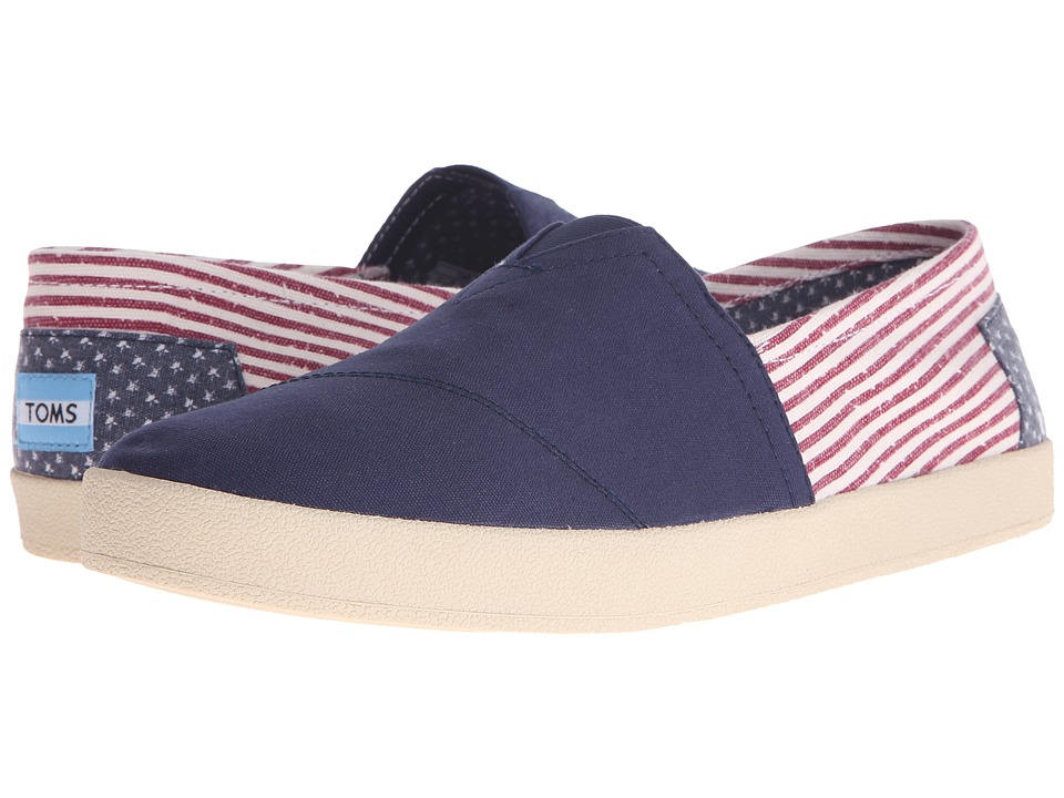 TOMS Avalon Slip On Americana Canvas Flag Mens Slip on Shoes