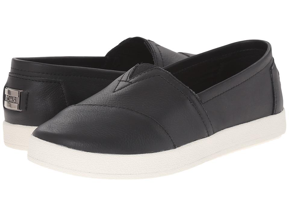 TOMS - Avalon Slip-On (Black Full Grain Leather) Womens Slip on  Shoes