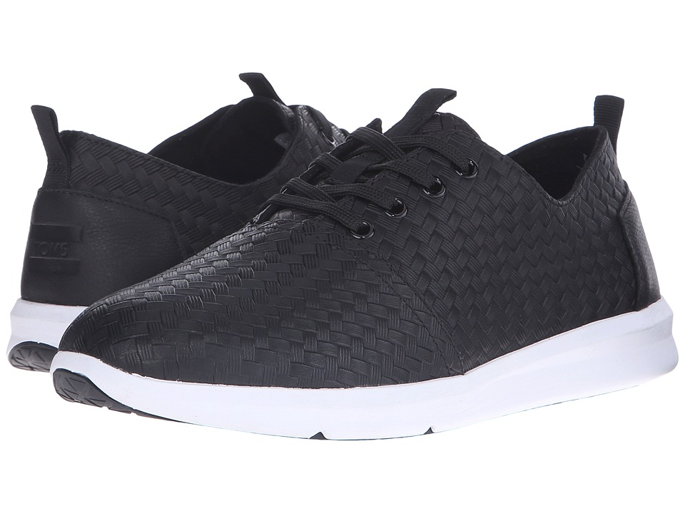 TOMS Del Rey Black Leather Weave Emboss Mens Lace up casual Shoes