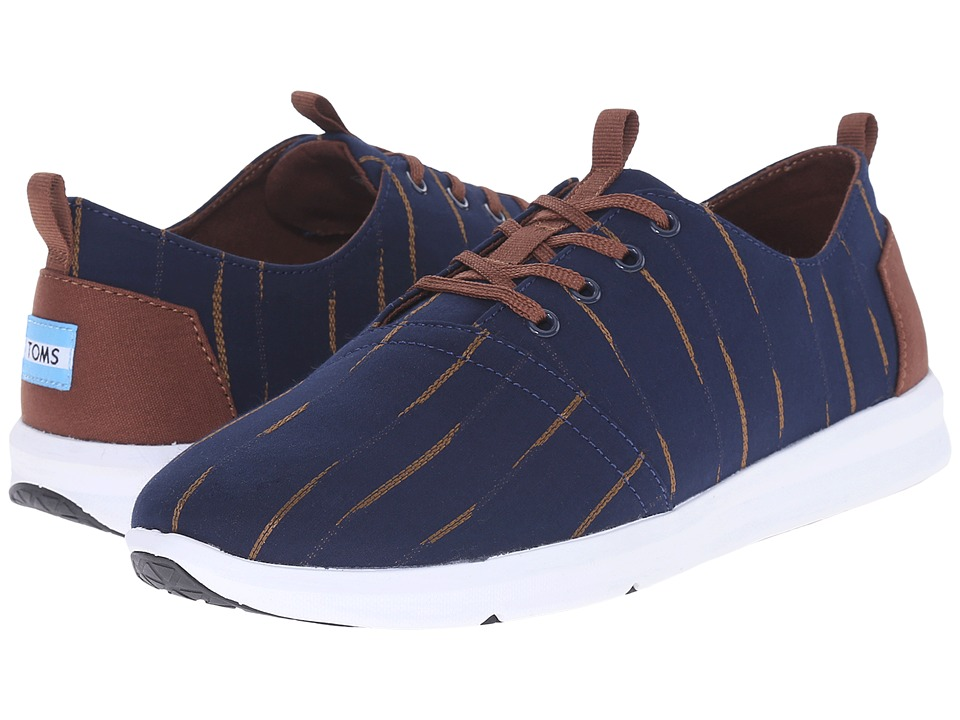 TOMS Del Rey Navy/Brown Mini Stripe Mens Lace up casual Shoes