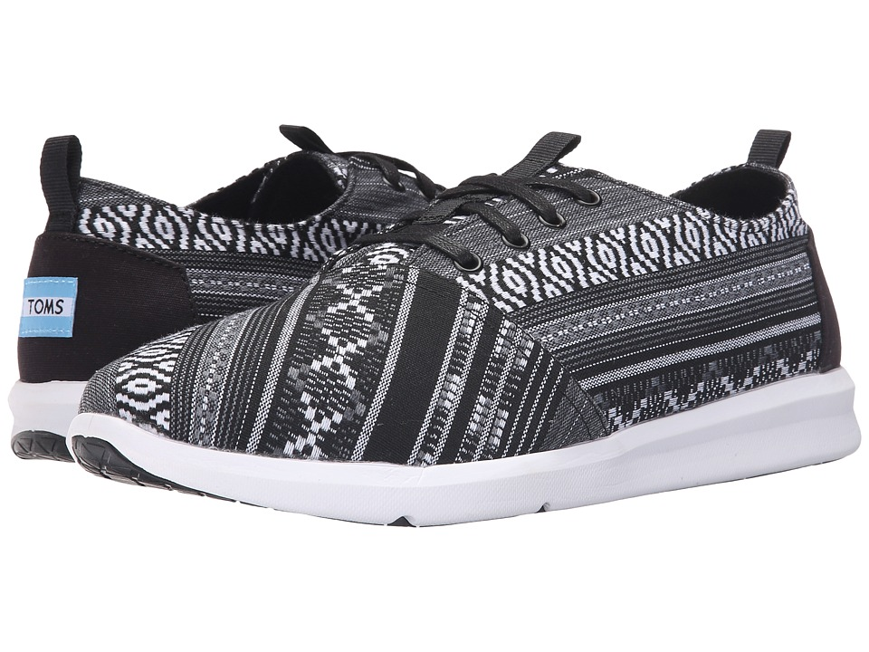 TOMS Del Rey Black/White Linear Cultural Woven Mens Lace up casual Shoes