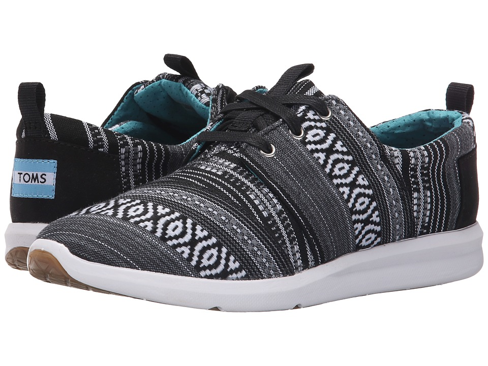 TOMS Del Rey Sneaker Black/White Cultural Woven Womens Lace up casual Shoes