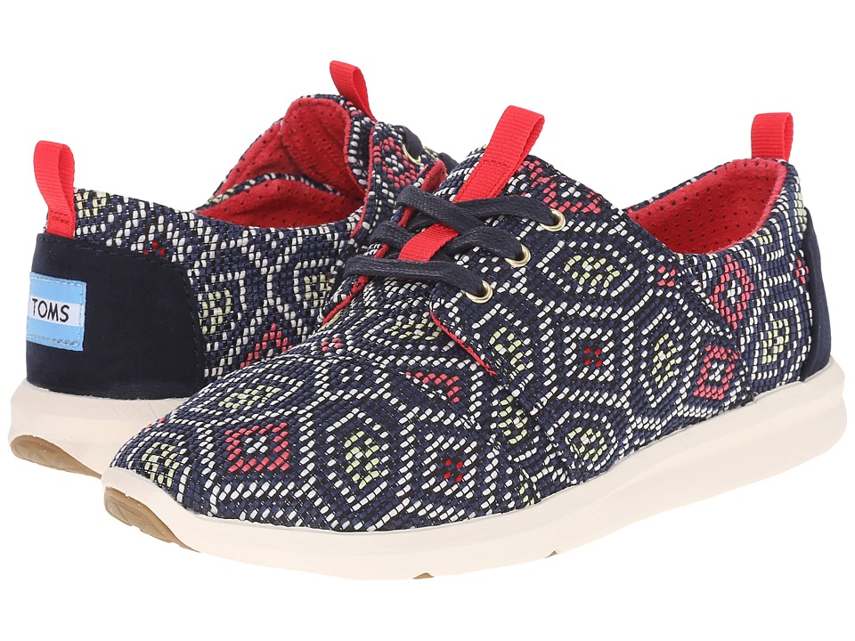 TOMS Del Rey Sneaker Navy Multi Woven Womens Lace up casual Shoes