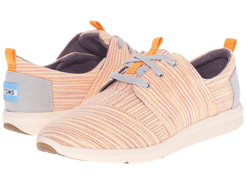 TOMS Del Rey Sneaker Orange Multi Stripe Womens Lace up casual Shoes
