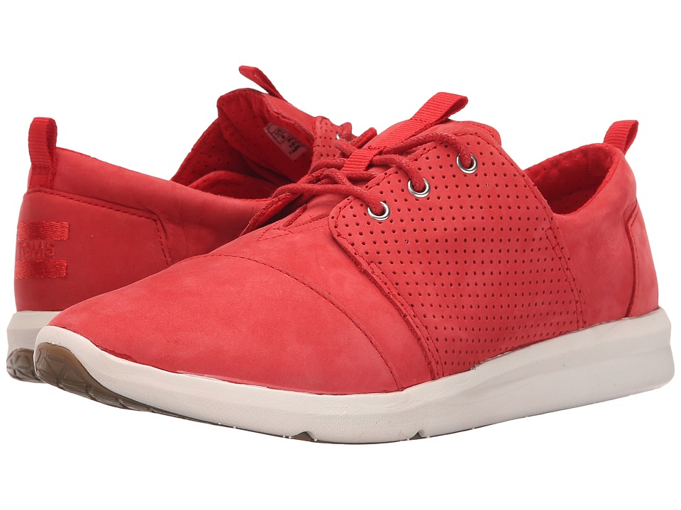 TOMS Del Rey Sneaker Red Nubuck Womens Lace up casual Shoes