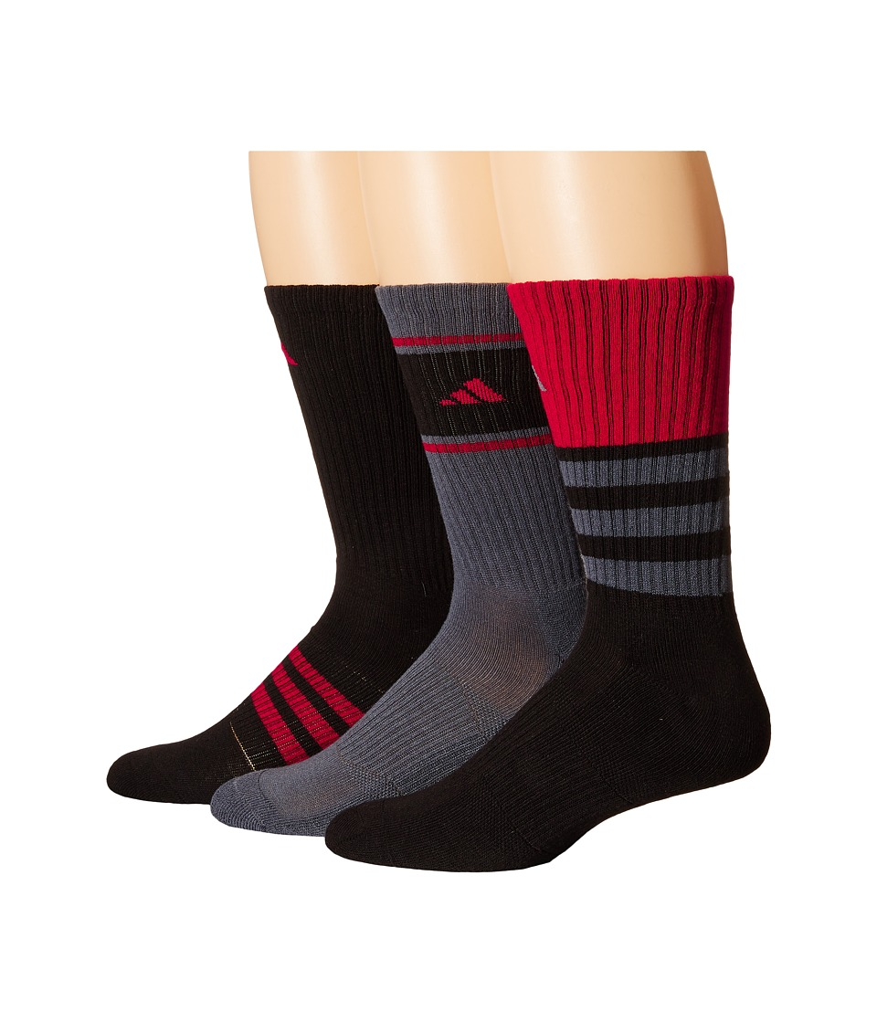 adidas - Cushioned Assorted Color 3-Pack Crew Socks (Black/Onix/Power Red) Men