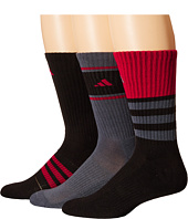 adidas - Cushioned Assorted Color 3-Pack Crew Socks
