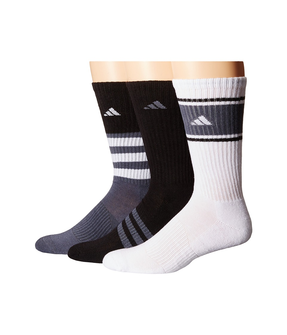 adidas - Cushioned Assorted Color 3-Pack Crew Socks (Black/Onix/White) Men