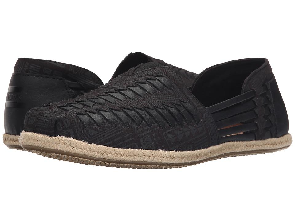 TOMS Alparagata Huarache Black/Grey Tiki Textile Mens Slip on Shoes