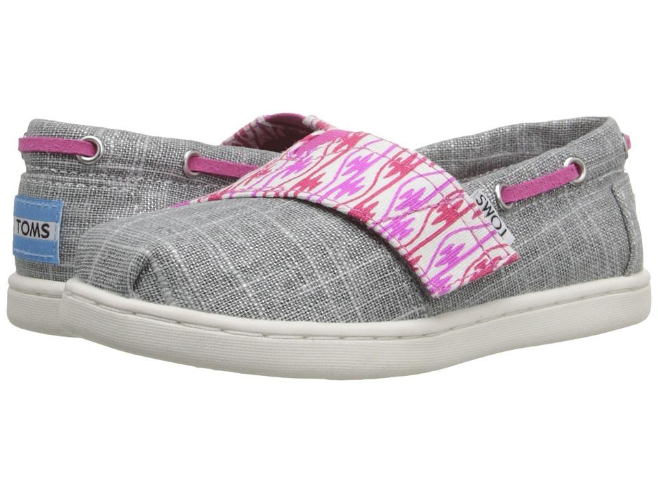 TOMS Kids Bimini Espadrille Infant/Toddler/Little Kid Silver Burlap/Pink Serape Kids Shoes