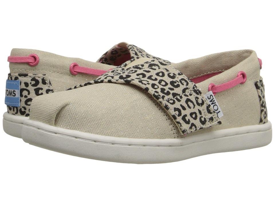 TOMS Kids Bimini Espadrille Infant/Toddler/Little Kid Cheetah Metallic Linen Kids Shoes