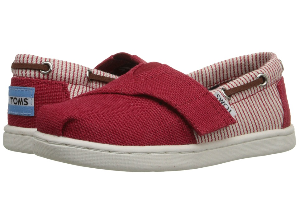 TOMS Kids Bimini Espadrille Infant/Toddler/Little Kid Red Burlap/Stripe Textile Kids Shoes