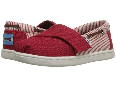 TOMS Kids Bimini Espadrille (Infant/Toddler/Little Kid) - Red Burlap/Stripe Textile