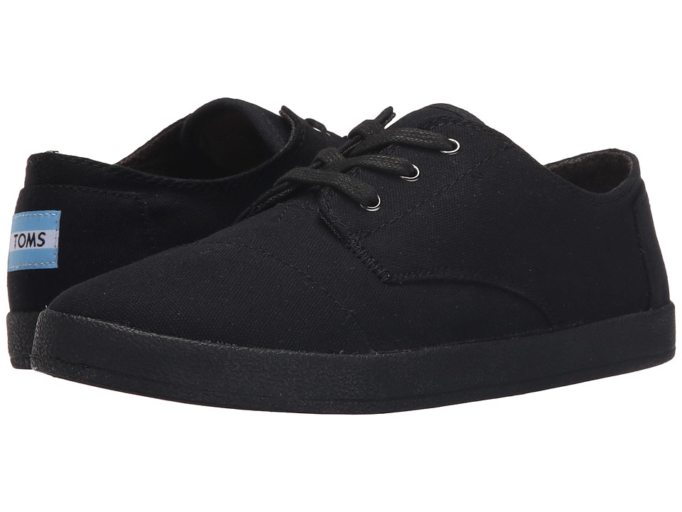 TOMS Paseo Sneaker Black/Black Canvas Womens Lace up casual Shoes