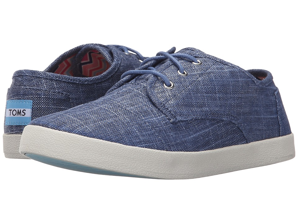 TOMS Paseo Sneaker Blue Metallic Linen Womens Lace up casual Shoes