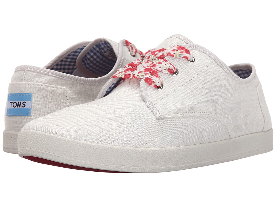 TOMS Paseo Sneaker White Linen Womens Lace up casual Shoes