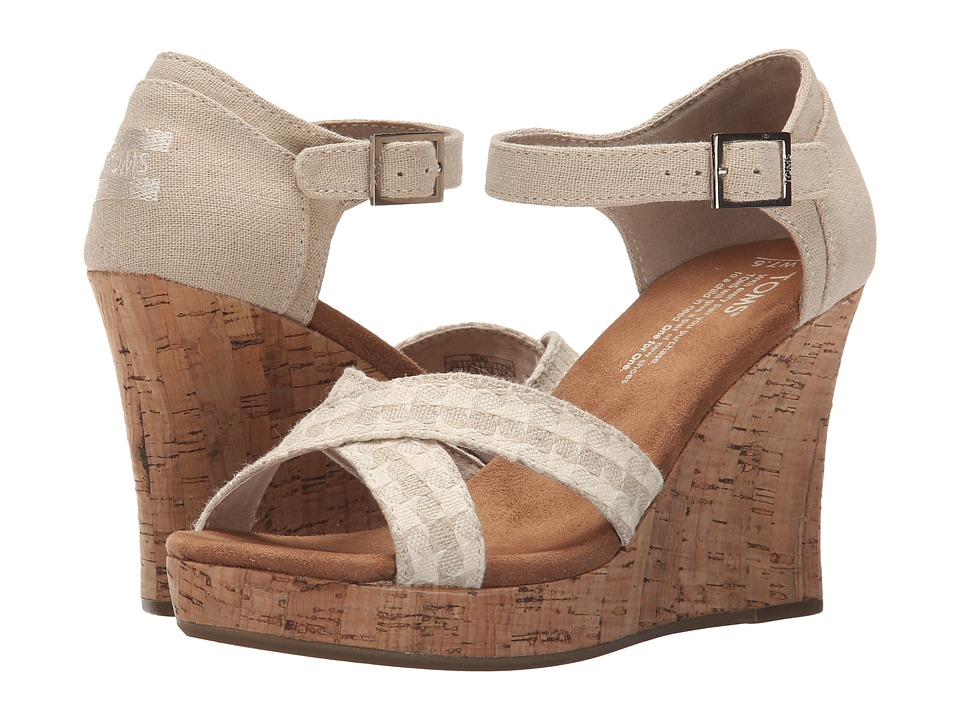 TOMS Strappy Wedge Natural Woven/Cork Womens Wedge Shoes