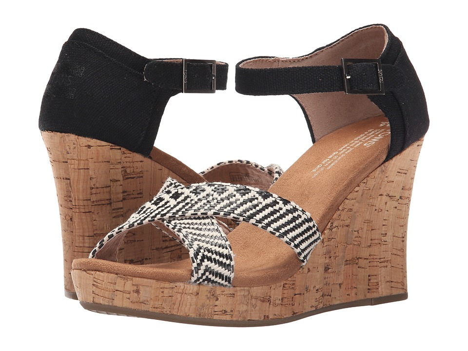 TOMS Strappy Wedge Black Woven/Cork Womens Wedge Shoes