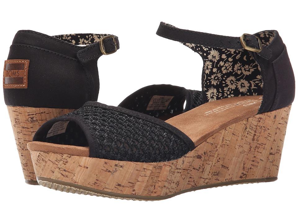 TOMS Platform Wedge Black Crochet/Cork Womens Wedge Shoes