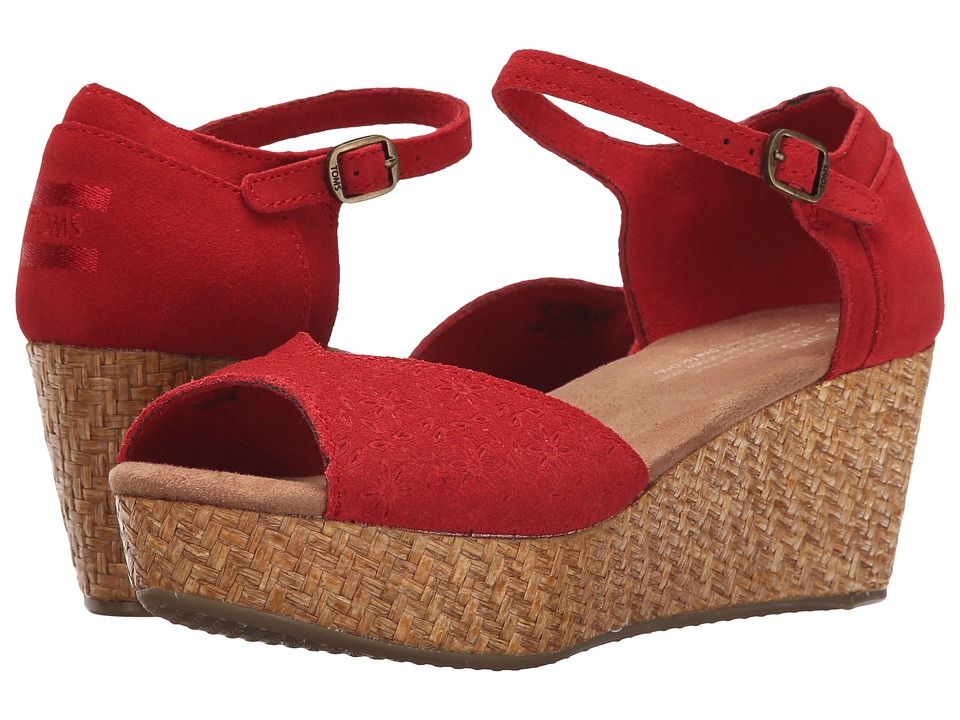 TOMS Platform Wedge Red Suede Embossed/Wrapped Womens Wedge Shoes