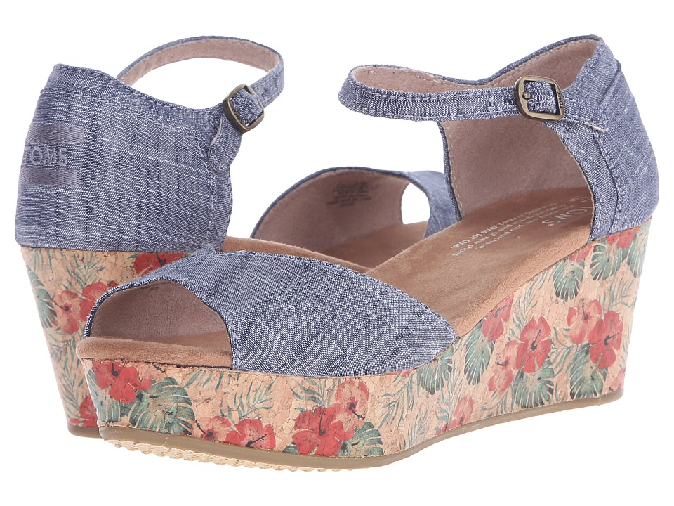 TOMS Platform Wedge Chambray/Floral Cork Womens Wedge Shoes