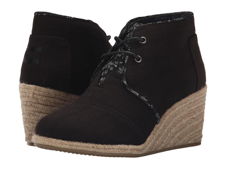 TOMS Desert Wedge Black Textured Linen Womens Wedge Shoes