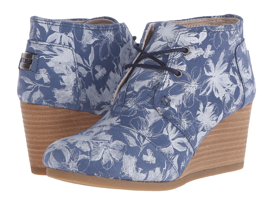 TOMS Desert Wedge Blue Suede Floral Womens Wedge Shoes