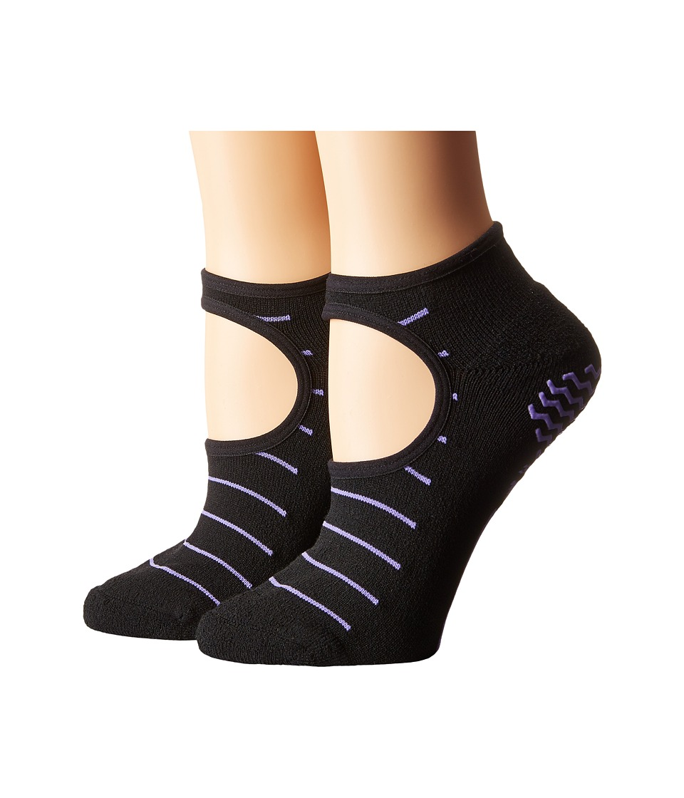 adidas Studio 2 Pack Super No Show Socks Black/Light Flash Purple Womens No Show Socks Shoes