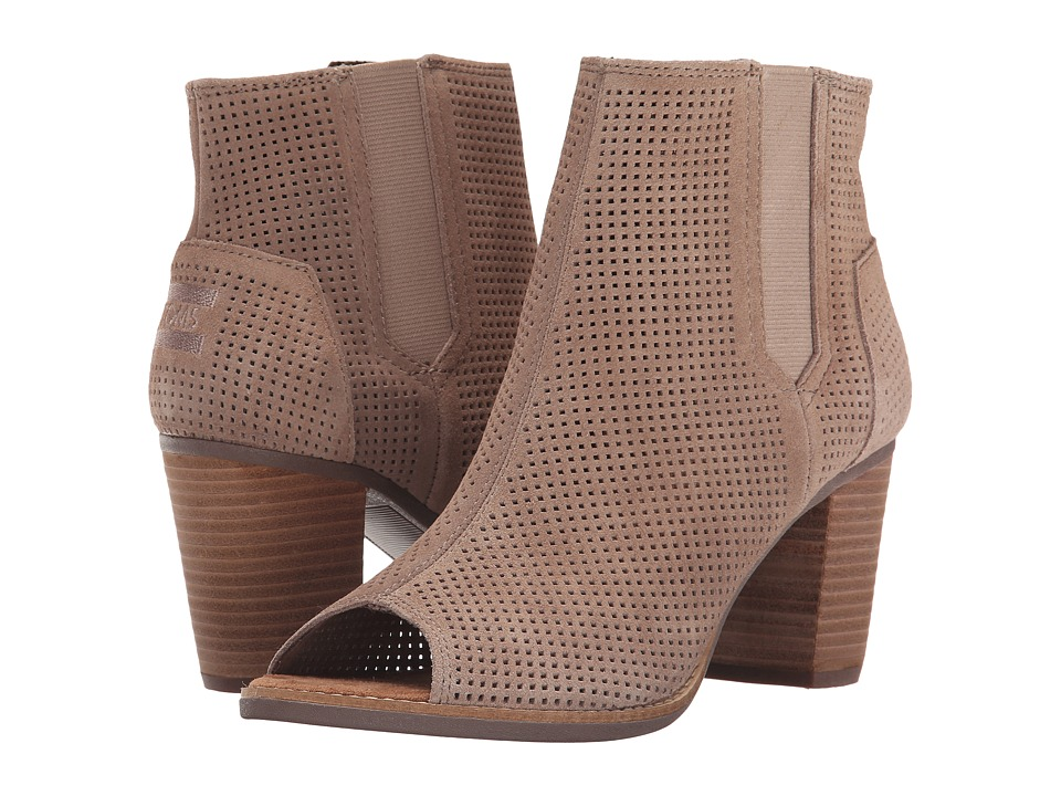 TOMS Majorca Peep Toe Bootie (Stucco Suede Perforated) Women