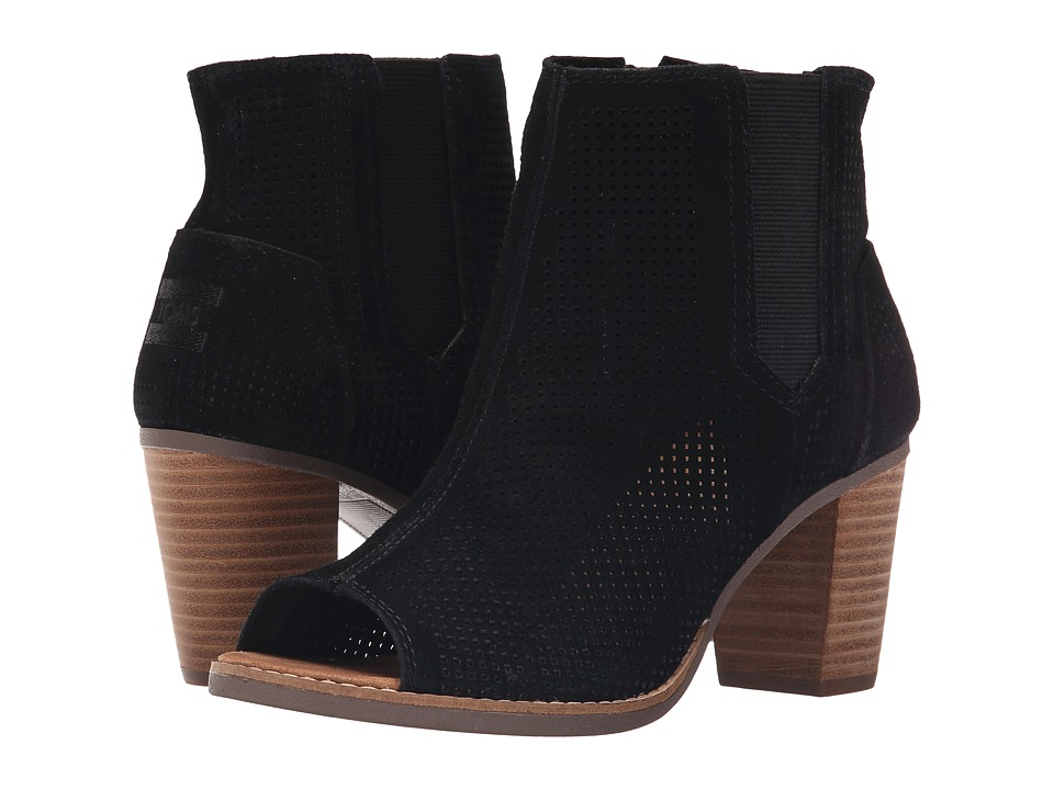 TOMS - Majorca Peep Toe Bootie (Black Suede Perforated) Women's Toe Open Shoes