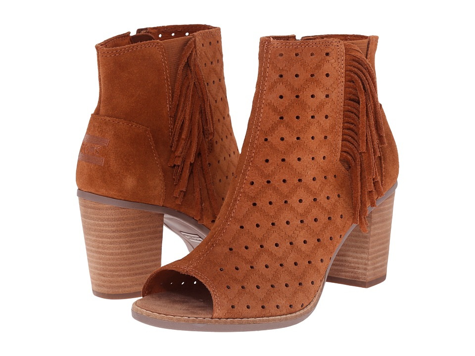 TOMS Majorca Peep Toe Bootie (Cinnamon Suede Perforated/Fringe) Women