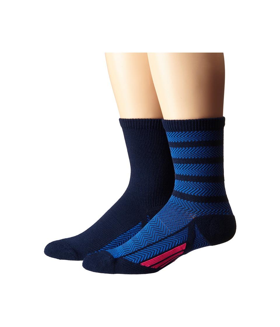 adidas Studio 2 Pack Crew Socks Collegiate Navy Blue/Shock Pink Womens Crew Cut Socks Shoes