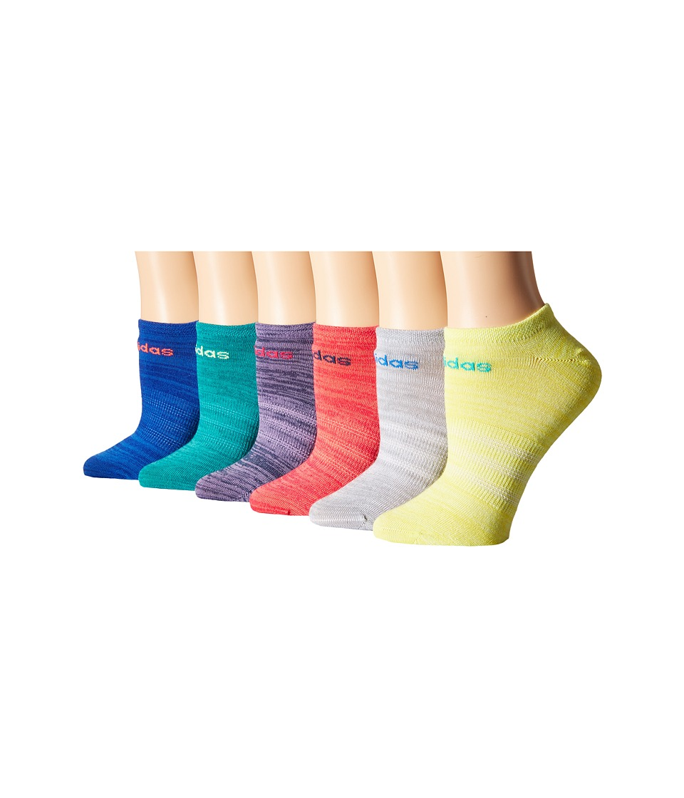 adidas Superlite 6 Pair No Show Socks Bold Blue/Flash Red/Light Onix/Frozen Yellow/EQT Green/Super Pur Womens No Show Socks Shoes
