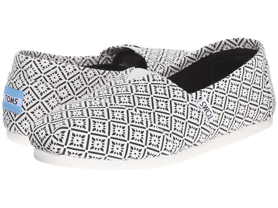 TOMS Seasonal Classics White/Black Canvas Vintage Tile Womens Slip on Shoes