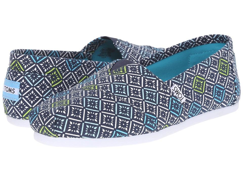 TOMS Seasonal Classics Navy/Multi Canvas Vintage Tile Womens Slip on Shoes