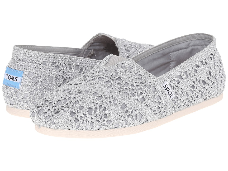 TOMS Crochet Classics Silver Crochet Metallic Womens Slip on Shoes