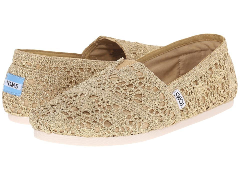 TOMS Crochet Classics Gold Crochet Metallic Womens Slip on Shoes