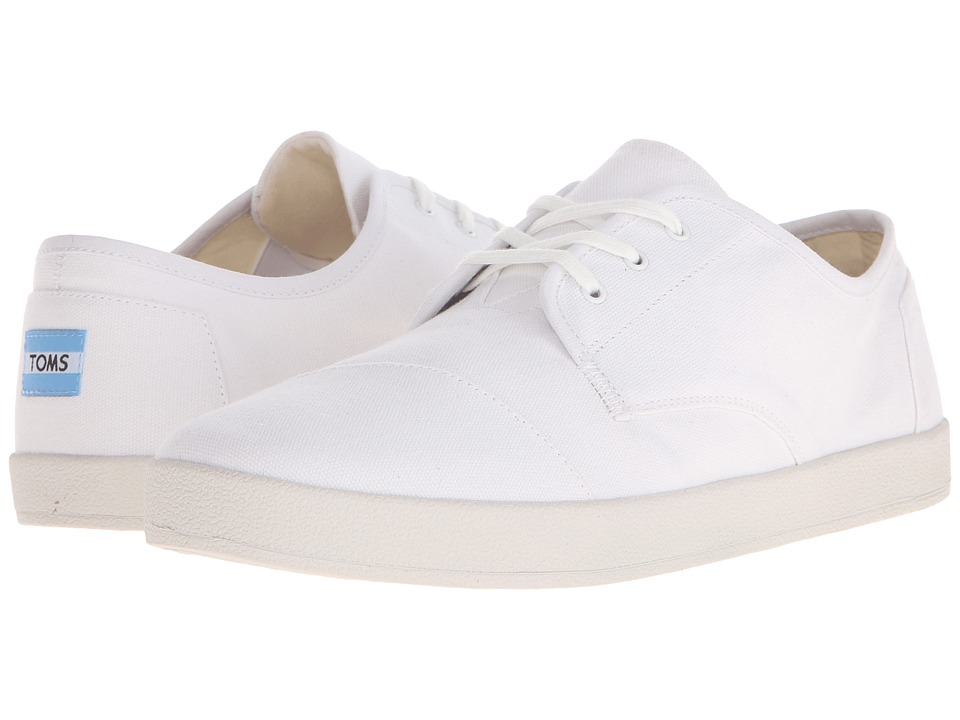 TOMS Paseo White Canvas Mens Lace up casual Shoes