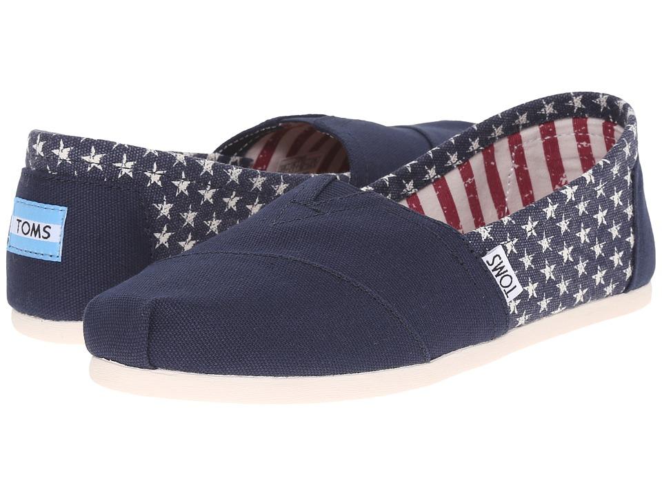 TOMS Seasonal Classics Americana Navy Canvas Stars Womens Slip on Shoes