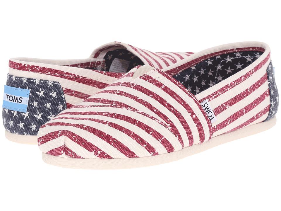 TOMS Seasonal Classics Americana Canvas Flag Womens Slip on Shoes