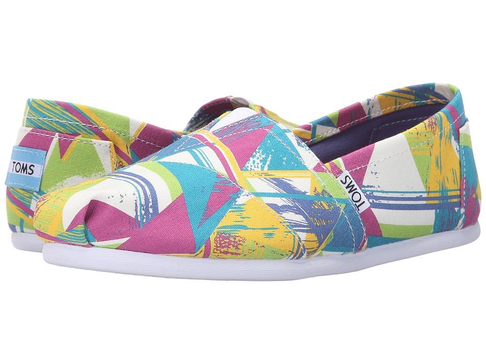TOMS Seasonal Classics Bright Multi Canvas Triangles Womens Slip on Shoes