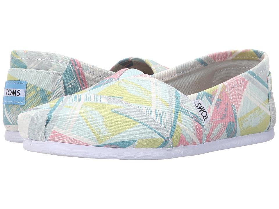 TOMS Seasonal Classics Pastel Multi Canvas Triangles Womens Slip on Shoes