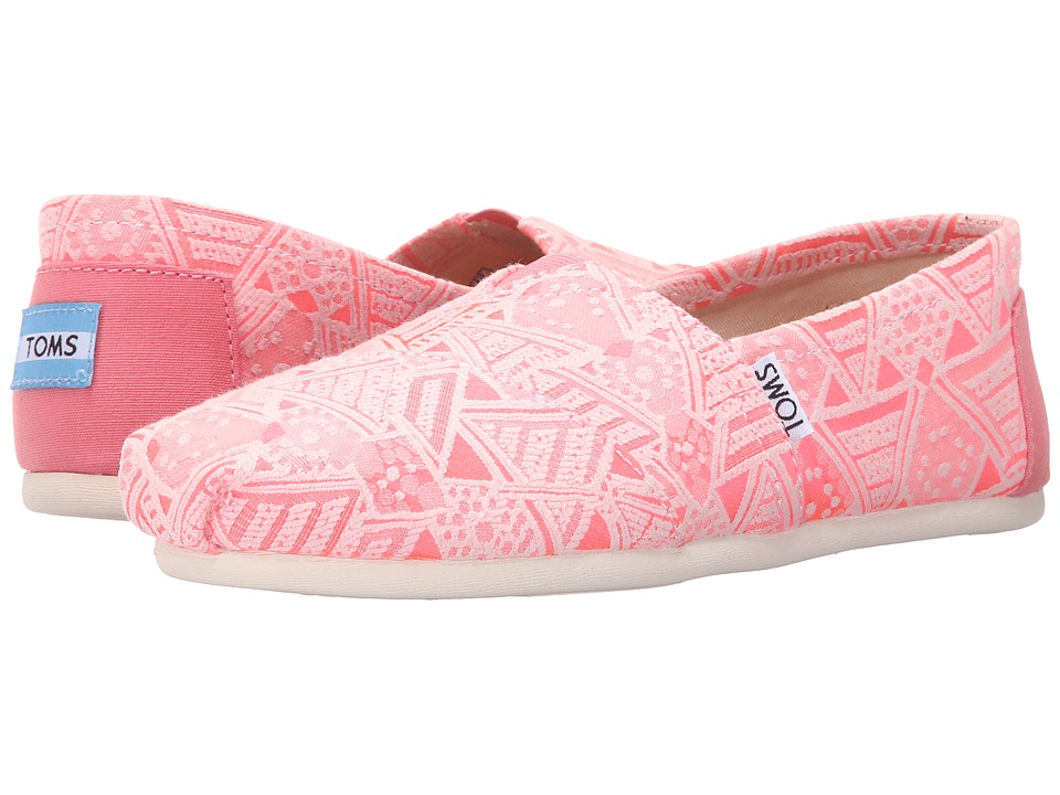 TOMS Seasonal Classics Pink Neon Tribal Womens Slip on Shoes