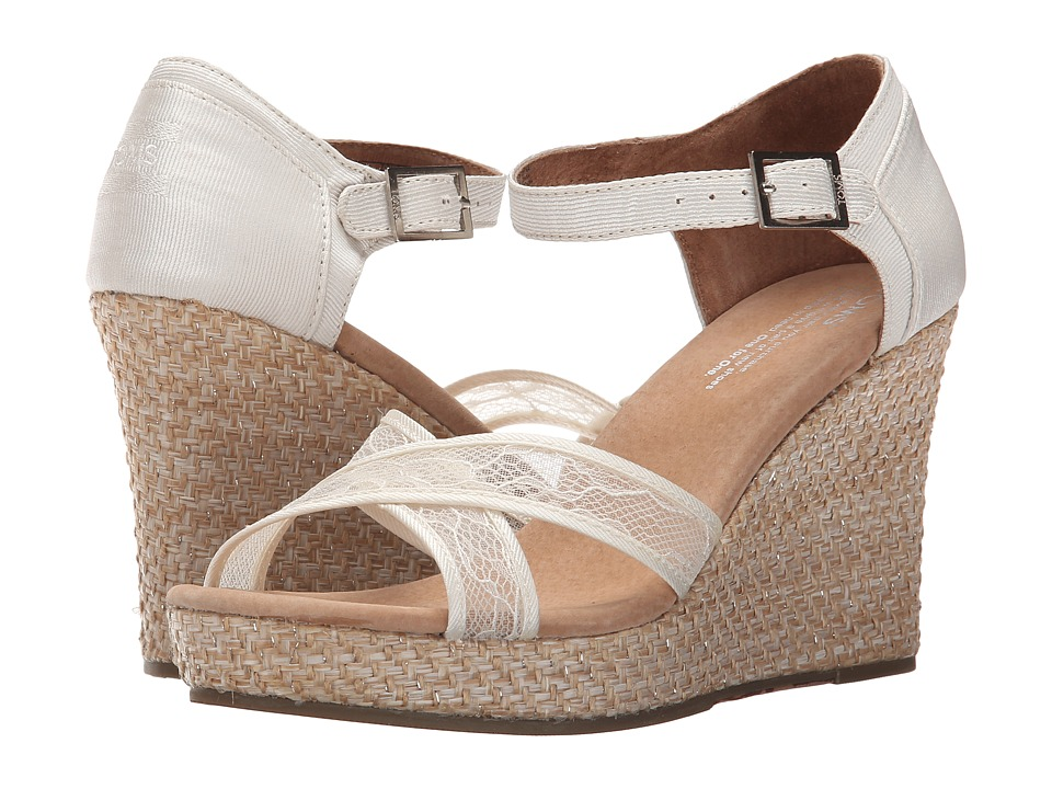 TOMS Wedding Wedge Platinum Grosgrain Lace Womens Wedge Shoes