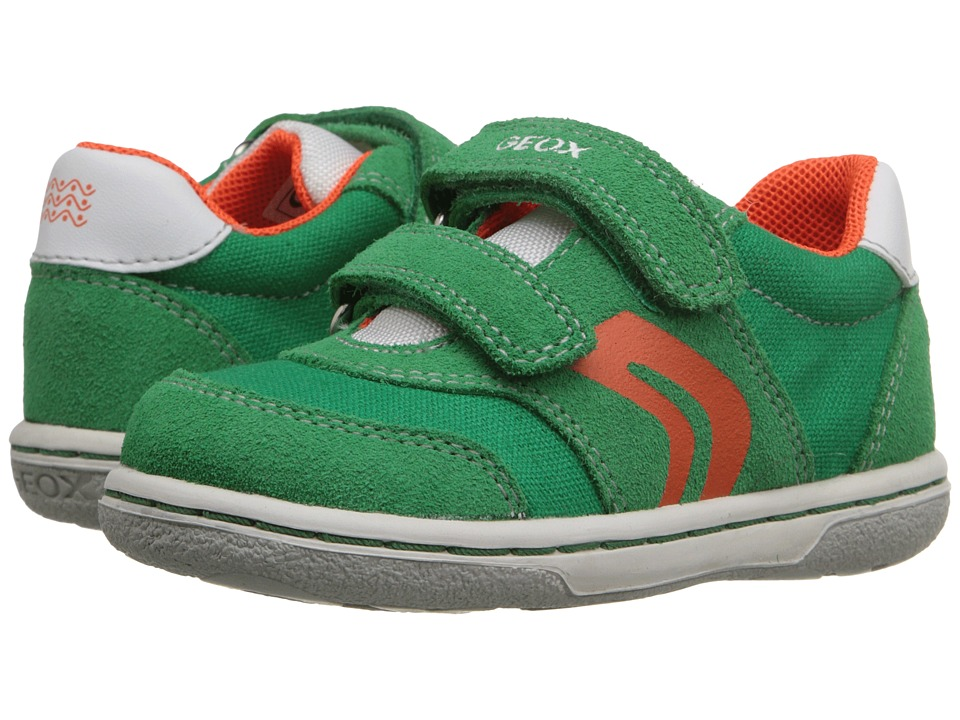 Geox Kids Baby Flick Boy 44 Toddler Green/Orange Boys Shoes
