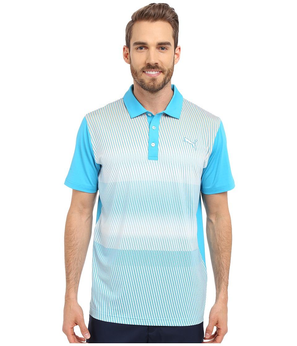 PUMA Golf GT Brush Stripe Polo Atomic Blue Mens Clothing
