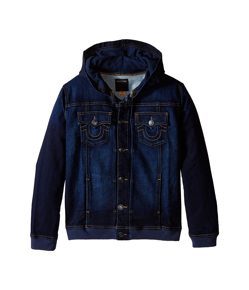 True Religion Kids Dylan Indigo French Terry Hoodie Jacket Big Kids Medium Indigo Boys Jacket