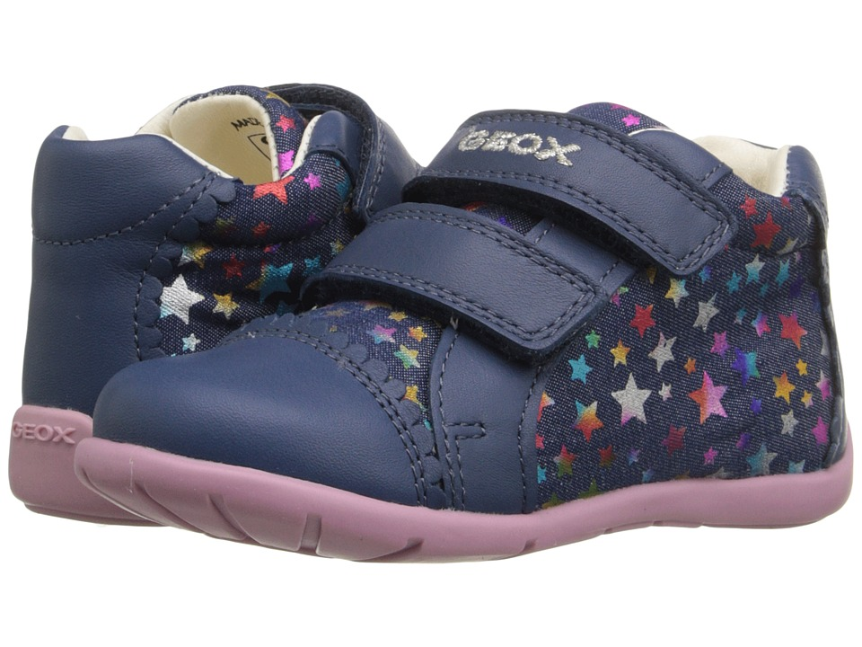 Geox Kids Baby Kaytan Girl 23 Infant/Toddler Navy/Multicolor Girls Shoes