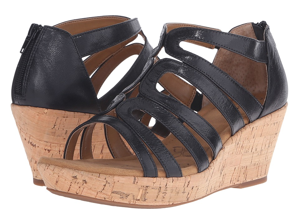 Comfortiva Redmond Black Goat Leather Pull Up Womens Wedge Shoes