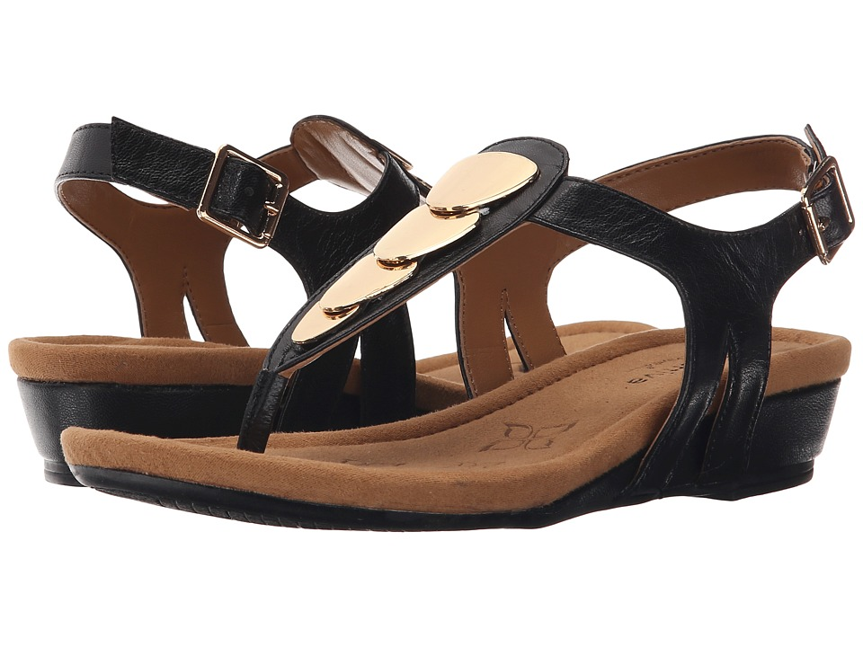 Comfortiva Summit Black Goat Leather Pull Up Womens Sandals